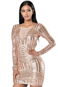 Chicloth Rose Nude Open Back Long Sleeve Sequin Dress