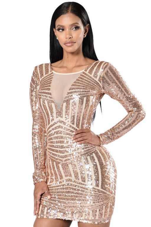 2bc8a004c1e1 Chicloth Rose Nude Open Back Long Sleeve Sequin Dress-Club Dress-Chicloth