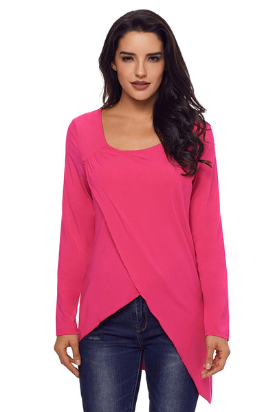 Chicloth Rose Red Faux Wrap Irregular Hemline O Neck Shirt