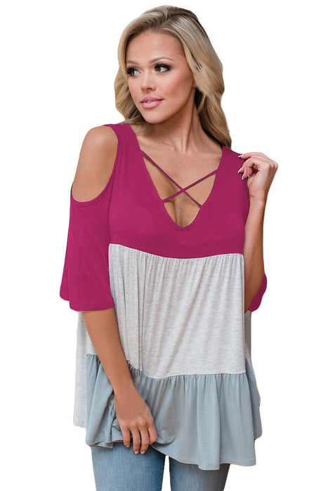 Chicloth Rosy Color Block Criss Cross V Neck Cold Shoulder Top-Blouse-Chicloth