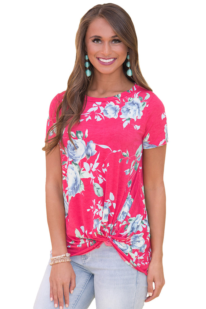 Z| Chicloth Rosy Floral Short Sleeve Knot Top-Chicloth