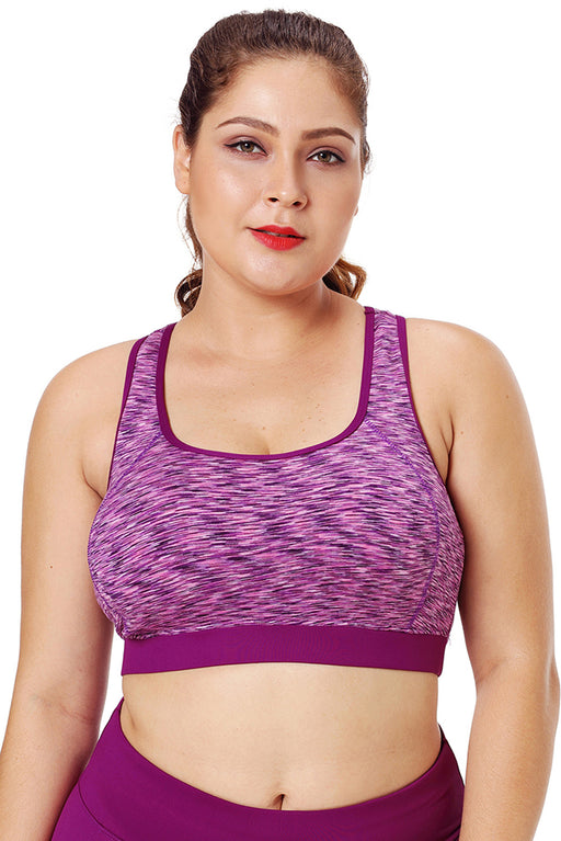 Z| Chicloth Rosy Piping Trim Racerback Workout Bra-Chicloth