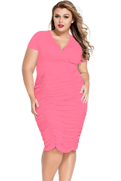 Chicloth Rosy Pleated Curvaceous Midi Dress-Plus size Dresses-Chicloth