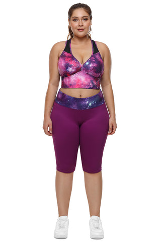 Z|Chicloth Rosy Purple Galaxy Print Plus Size Yoga Bra