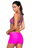 Chicloth Rosy Stripe Patten Sport Bra Swim Trunk 2pcs Swimsuit