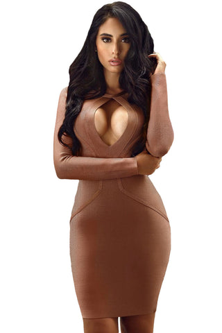 Chicloth Round Neck Keyhole Front Center Long Sleeve Bandage Dress