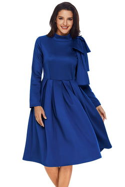 Chicloth Royal Blue Bowknot Embellished Mock Neck Pocket Dress