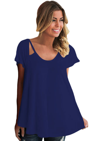 Chicloth Royal Blue Cutout Cold Shoulder Flowy Top