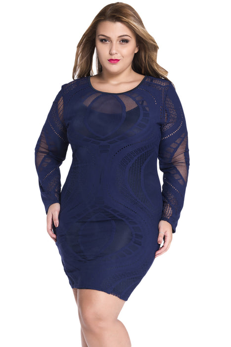 Chicloth Royal Blue Lace Nude Illusion Long Sleeves Bodycon Dress-Chicloth