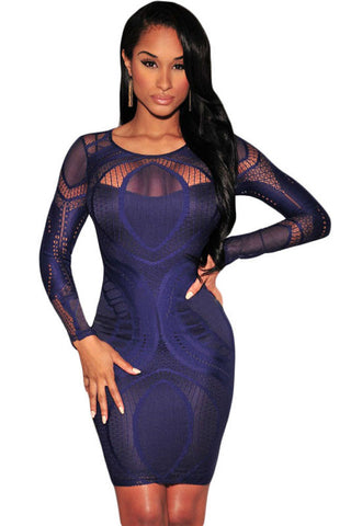 Chicloth Royal Blue Lace Nude Illusion Long Sleeves Bodycon Dress