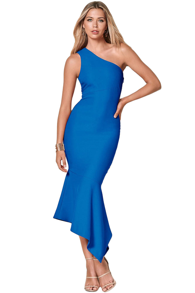 Z| Chicloth Royal Blue One Shoulder Tulip Party Dress-Chicloth