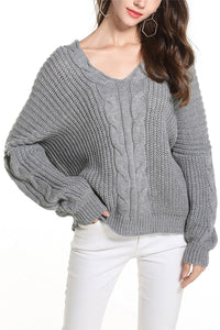 A| Chicloth V-Neckline Solid Loose Sweaters-tops-Chicloth