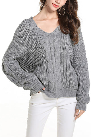 A| Chicloth V-Neckline Solid Loose Sweaters