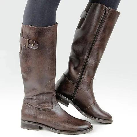 A| Chicloth Women's Classic Riding Boot Buckle Pu Boots-Boots-Chicloth