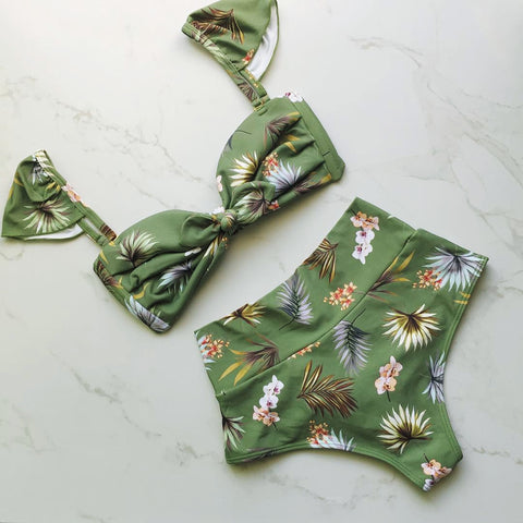 Chicloth Sweet String Green Floral Print High Waist Bikini Set - Chicloth