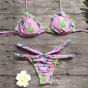 Chicloth Sexy Pink Cactus Print Bikini Set - Chicloth