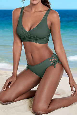 AA| Chicloth Solid Color Sexy Women Bikini Sets Beachwear-Chicloth