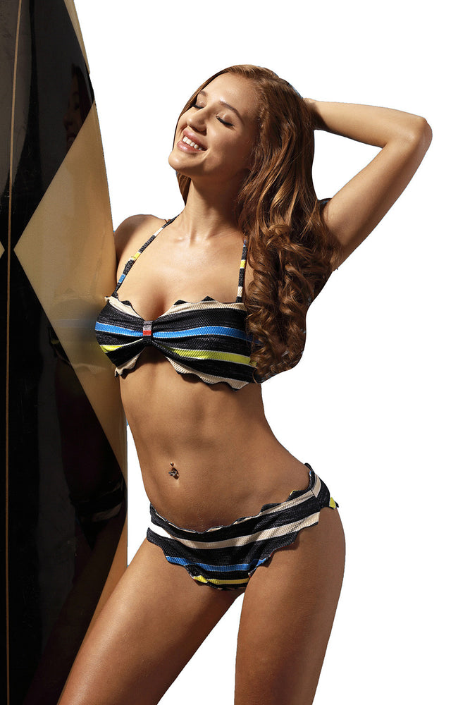 Chicloth Scallop Edge Multicolor Striped Bikini-Swimwear-Chicloth