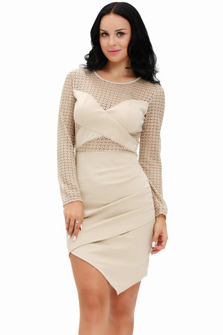 Chicloth See-through Crochet Patchwork Long Sleeve Bodycon Dress