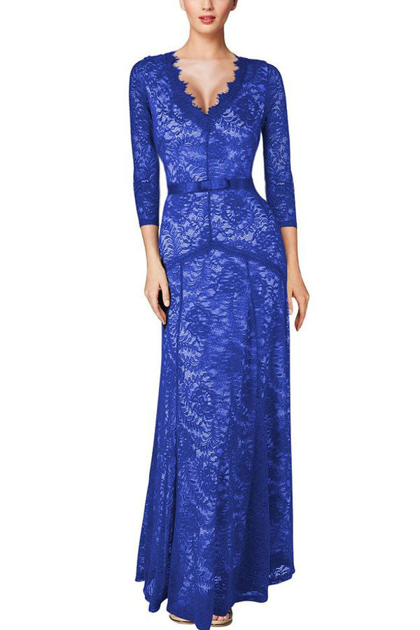 Chicloth Sexy Plunging Neck Three Quarter Sleeve Blue Lace Dress-Maxi Dresses-Chicloth