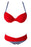 A| Chicloth Sexy Red Padded Gather Push-Up Bikini Set-Bikinis-Chicloth