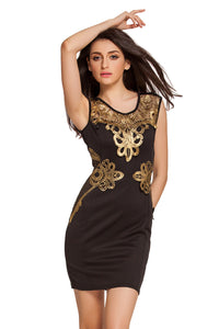 Chicloth Sexy Sleeveless Foiled Applique Detail Black Shift Dress