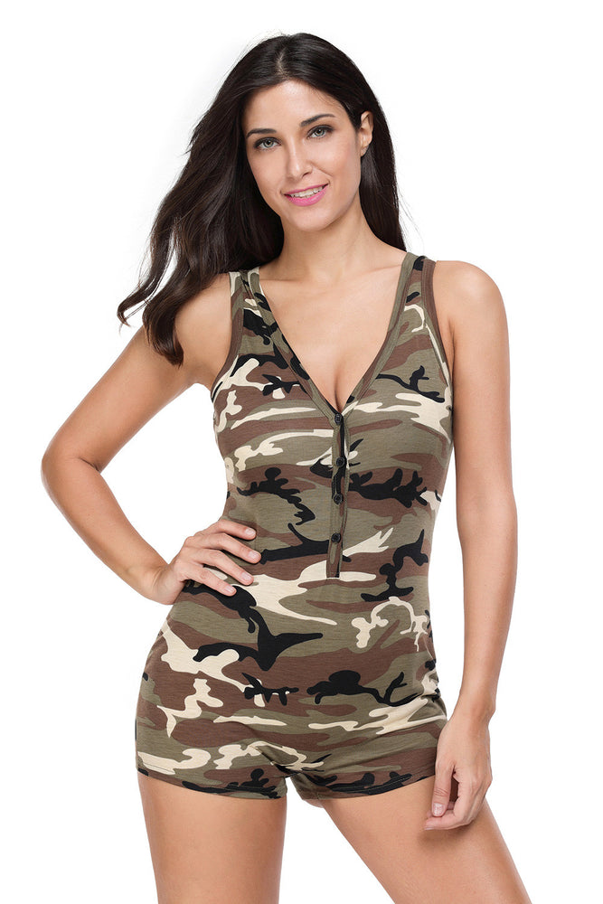 Chicloth Sexy V-neck Sleeveless Camouflage Romper Shorts Bodysuit-Jumpsuits & Rompers-Chicloth