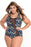 Chicloth Sheer Mesh Accent Floral Print Plus One-piece Swimwear-Plus size swimwear-Chicloth