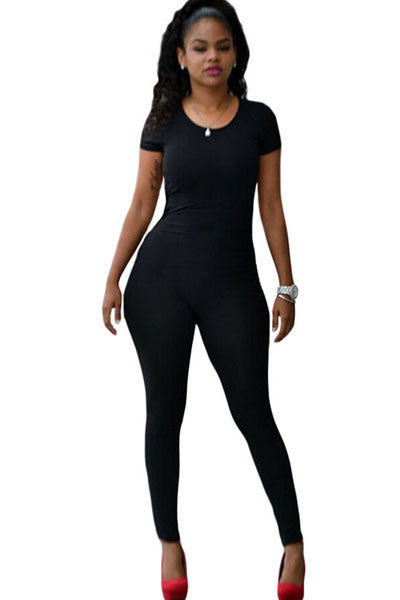 Chicloth Short Sleeve Tight-fitting Jumpsuit with Back Cutout-Jumpsuits & Rompers-Chicloth