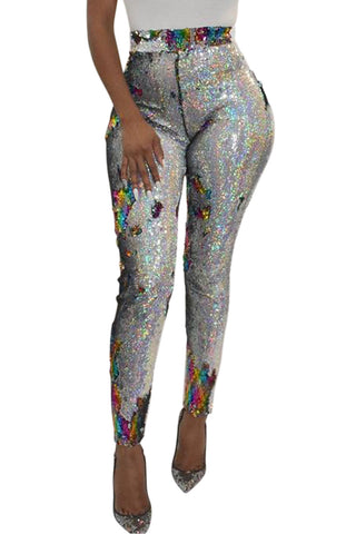Z| Chicloth Silver High Waist Retro Sequin Leggings