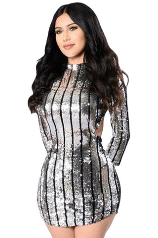 Chicloth Silver Sequins Hollow-out Club Dress
