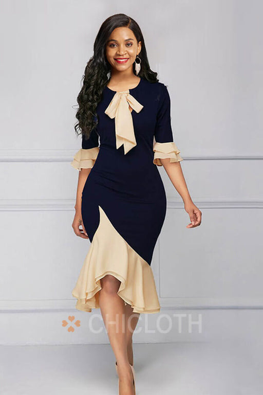 Chicloth Elegant Office Women Bodycon Flare Sleeve Dresses