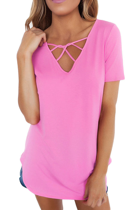 Chicloth Solid Pink Soft Cage Front Women Top-Blouse-Chicloth
