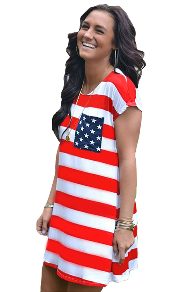 Z| Chicloth Star Patch Pocket Striped Flag Shirt Dress-Chicloth