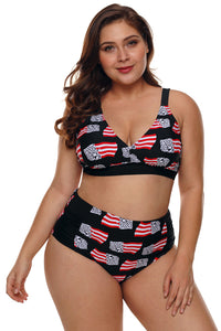 Z| Chicloth Statue of Liberty American Flag High Waisted Swimsuit