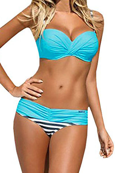 A| Chicloth Striped Blue Padded Gather Push-Up Bikini Set-Bikinis-Chicloth