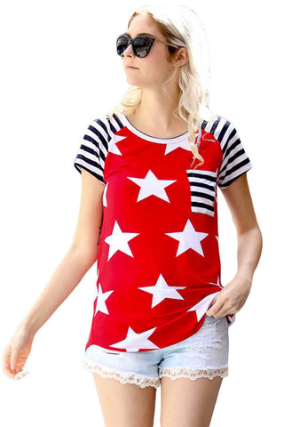 Z| Chicloth Striped Short Sleeves Red Black American Flag T-shirt