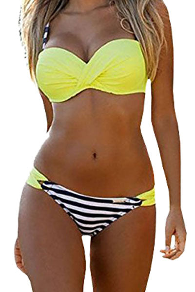A| Chicloth Striped Yellow Padded Gather Push-Up Bikini Set-Bikinis-Chicloth