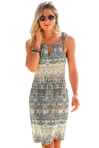 Z| Chicloth Stylish Bohemian All Over Print Keyhole Front Dress