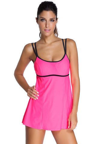 Chicloth Stylish Double Shoulder Straps Rosy One piece Swimdress