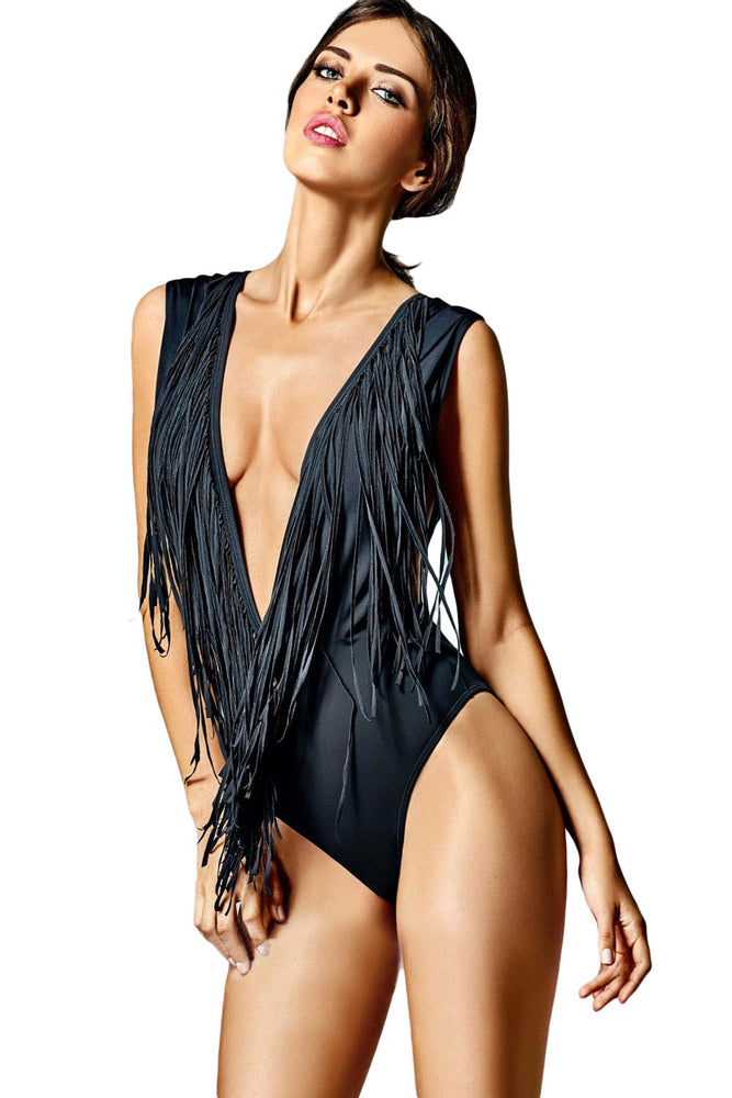 Chicloth Super Low V Neck Fringed One piece Swimsuit-One piece Swimwear-Chicloth