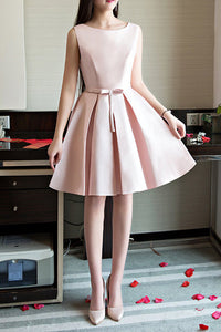 A| Chicloth Cute Short Satin Dress Homecoming Dress with Bow Tie
