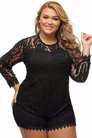 Chicloth Black Plus Size Long Sleeve Lace Romper-Jumpsuits & Rompers-Chicloth