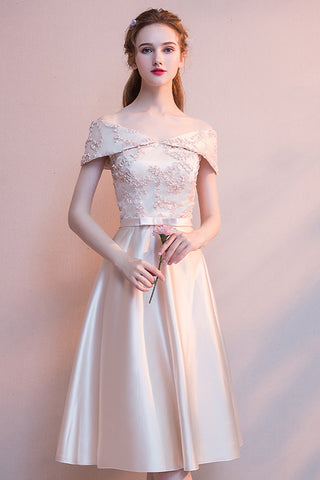 Chicloth Wedding Dresses Short Length Champagne Bridesmaid Dresses