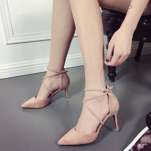 Chicloth Pointed Toe Cross Strap Stiletto Heel Plain Lace-Up Women'S Pumps