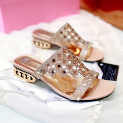 Women's Sandals Sandals Slippers Chunky Heel Sparkling Glitter Shoes