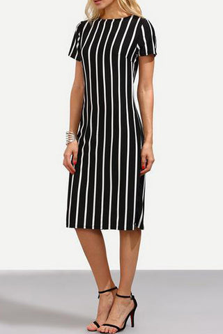 A| Chicloth Stripe Short Sleeve Midi Shift Dress-Chicloth
