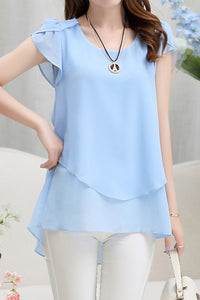 A| Chicloth Solid Casual Polyester Round Neckline Short Sleeve Blouses