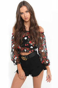 A| Chicloth Sheer Mesh Floral Embroidered Loose Cropped Blouse