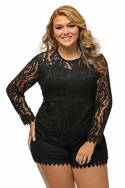 Chicloth Black Plus Size Long Sleeve Lace Romper - Chicloth